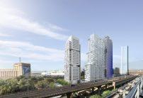 """La """"Tour Horizon"""" d'Ateliers Lion(au centre) entourée par les tours """"H99"""" de JBP Architectes (à gauche) et """"Marseillaise"""" de Jean Nouvel (à droite). Tout à droite, l'immeuble de Zaha Hadid"""