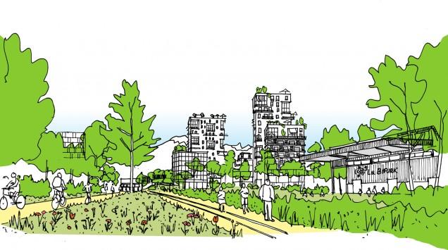 The public Parc Flaubert toward Belledonne