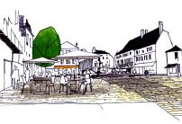Place Diderot - Sketch of a pedestrian square, more animated and lighten