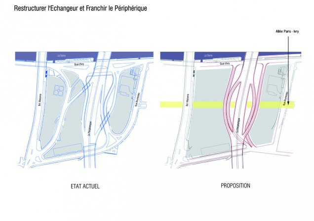 To restructure the interchange and to cross the ring road : Studies in progress in collaboration with Marc Mimram