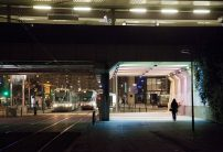 At Gennevilliers, underneath the RER C viaduct, the lighting secures and enhances pedestrian spaces.