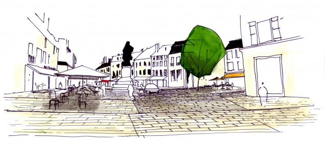 Place Diderot - croquis esquisse